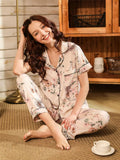 Floral Print Piping Trim PJ Set