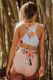 Orange Printed Zipped Racerback Maillot