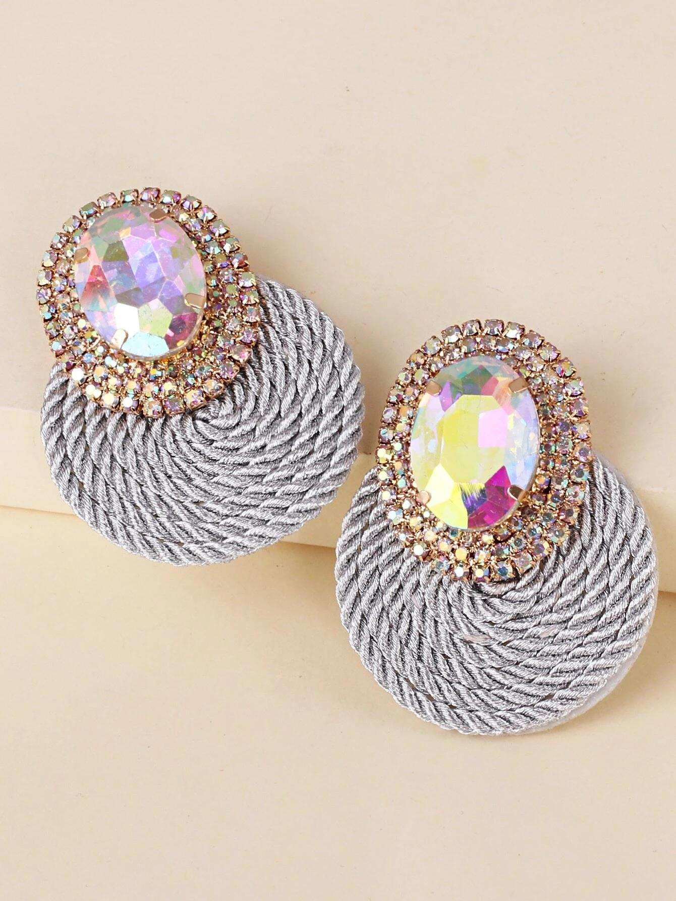 Rhinestone Decor Earrings