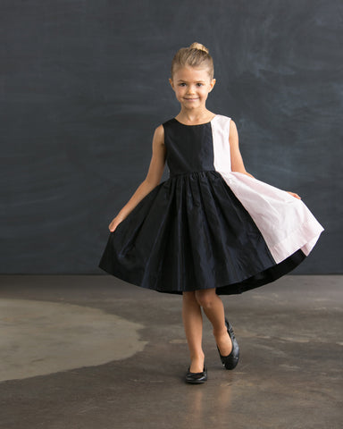 Black and Pink Block Silk Dress