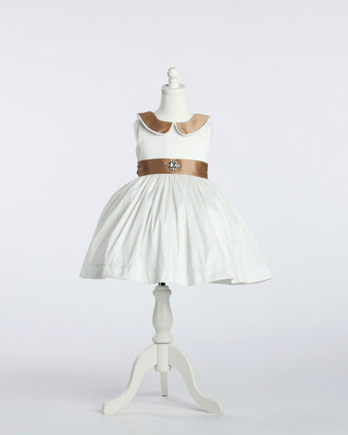 White and Caramel Peter Pan Collared Silk Party Dress with Jeweled Waist