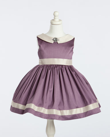 Purple and Champagne Peter Pan Collared Silk Party Dress with Broach
