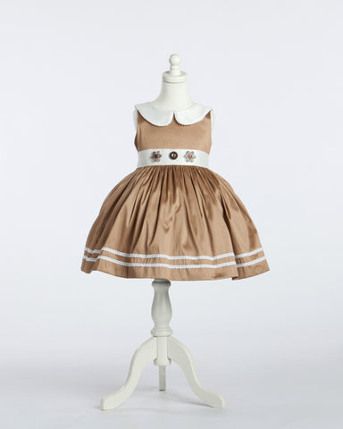 Caramel and White Peter Pan Collared Silk Party Dress with Jeweled Waist