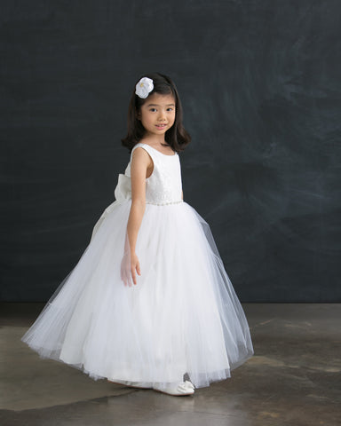 White Laced and Tulle Ball Gown Dress with Jeweled Waist