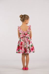 Big Roses Dress with Ruffled Collar