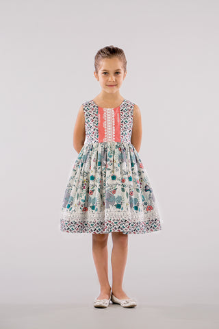 SPRING BUNNIES AND BUTTERFLIES PRINT DRESS - SLEEVELESS
