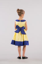 YELLOW AND BLUE DRESS WITH JEWELED WAIST - SLEEVELESS