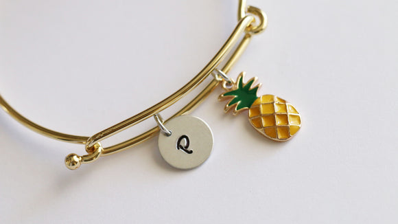 Personalized Initial Pineapple Bangle, Mixed Metal Gold tone and Silver tone