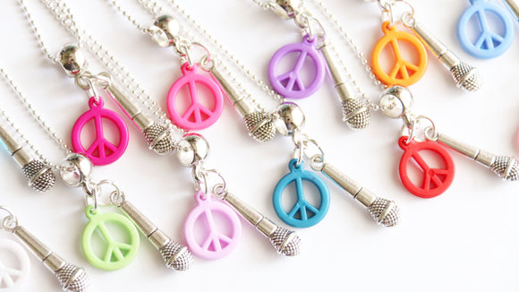 Rock and Roll Party Favor, Microphone Charm with Peace Sign Charm