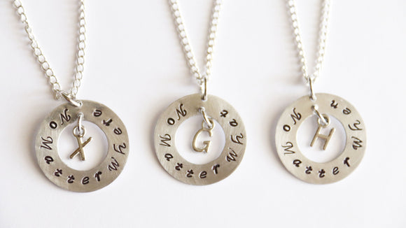 No Matter Where What When Necklaces Set, Personalized Gifts, Hand Stamped Necklace, Initial Necklace, Friendship Gift, Distance Friendship