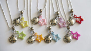 Soccer Party Favor, Soccer Ball Charm with Star Charm, Girl Party Favors