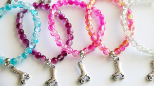 Roller Skate Party Favors Stretchy Bracelets, Girl Bracelet, Roller Skate Favor, Girl Gift, Clear Crystal Balls Assorted