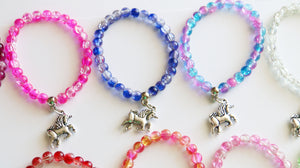 Unicorn Party Favors Stretchy Bracelets, Girl Bracelet, Unicorn Favor, Girl Gift, Clear Crystal Balls Assorted, Horse Party, Rainbow Gift