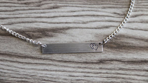 Mother Bar Necklace Silver Tone, Double Heart Necklace, Mother's day Gift,Bar Necklace, Mom Gift, Mommy Gift, Hand Stamped Aluminum