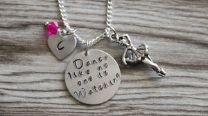 Dance like no one is watching Necklace Silver Plated, Dance Jewelry, Children's Jewelry, Girls Gift, Ballerina Necklace, Ballet Necklace