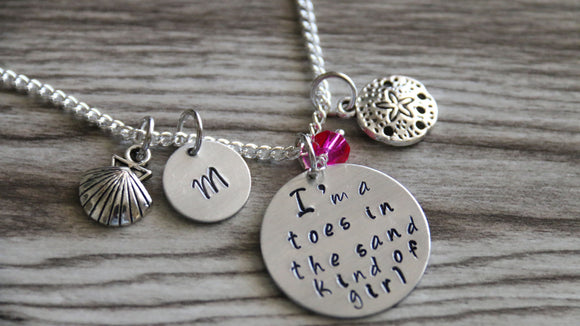 I'm a toes in the sand kind of girl Necklace, Beach Necklace, Personalized Initial, Birthstone Necklace