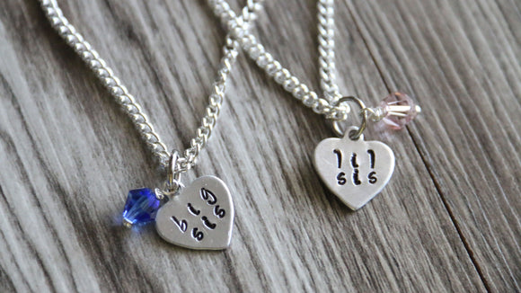 Big Sister Little Sister Personalized Necklace Silver Plated, Heart Necklace
