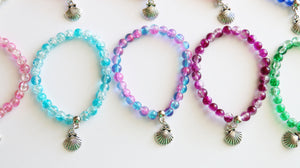 Mermaid Party Favors Stretchy Bracelets, Girl Bracelet, Beach Favor, Girl Gift, Clear Crystal Balls Assorted, Ocean Party Favors