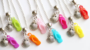 Pool Party Favor, Flip Flop Charm with Sea Shell Charm, Pool Party