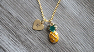 Pineapple Necklace Personalized Gold Tone, Personalized Initial Necklace, Pineapple Jewelry, Food Necklace Gift, Summer Gold Necklace