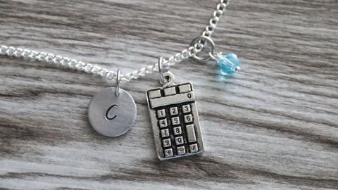 Calculator Necklace, Personalized Initial Necklace, Birthstone Charm, Customized Necklace, Math Teacher Gift, Accountant Gift, Graduation