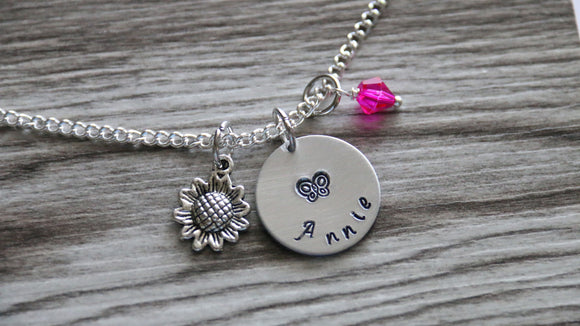 Flower Girl Necklace, Personalized Name Necklace, Birthstone Charm, Customized Necklace, Sunflower Necklace, Girl Butterfly Necklace