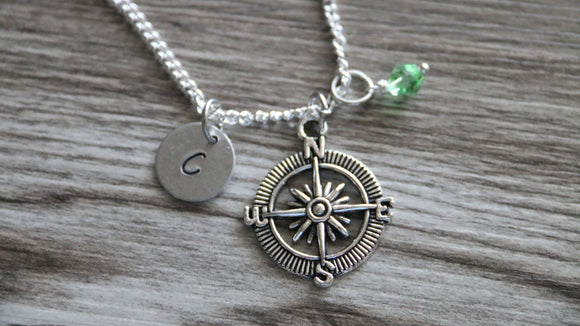 Compass Necklace, Personalized Initial Necklace, Birthstone Charm, No Matter Where Necklace