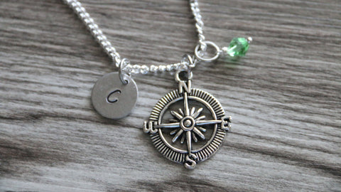 Compass Necklace, Personalized Initial Necklace, Birthstone Charm, Customized Necklace, No Matter Where Necklace, Friendship Necklace Gift
