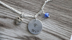 I love my Dog Necklace, Personalized Name Necklace, Birthstone Charm, Customized Necklace, Dog Paw Necklace, Personalized Gift Dog Lover