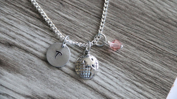 Earth Necklace, Personalized Initial Necklace, Birthstone Charm