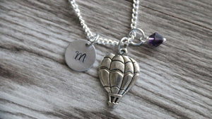 Hot Air Balloon Necklace, Personalized Initial Necklace, Birthstone Charm, Customized Necklace, Distance Friendship Necklace, Balloon Gift