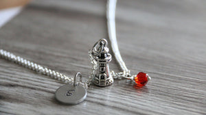 Lighthouse Necklace, Personalized Initial Necklace, Birthstone Charm