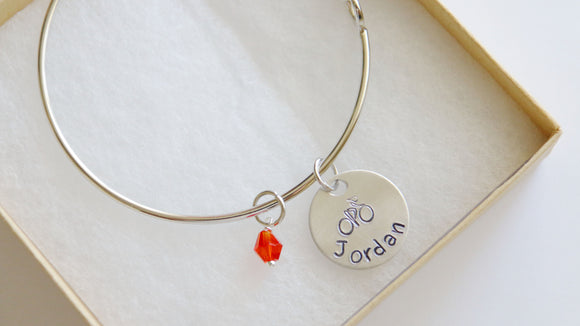 Bicycle Bangle, Personalized Name and Birthstone