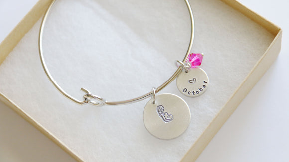 Expecting Mom Bangle, Personalized Due Date and Birthstone