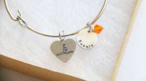 Gymnastic Bangle, Personalized Name and Birthstone