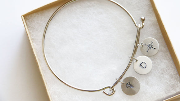 Medical Student Bracelet Bangle, Compass Bangle, Personalized Gift, Graduation Bangle, Gift for Graduation, Personalized Medical Student