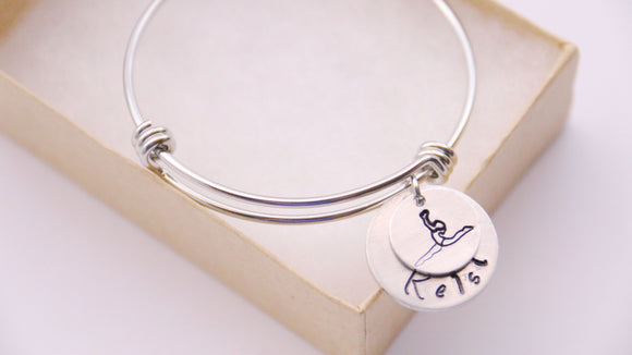 Gymnastic Bangle, Gymnast Bracelet Personalized with Name