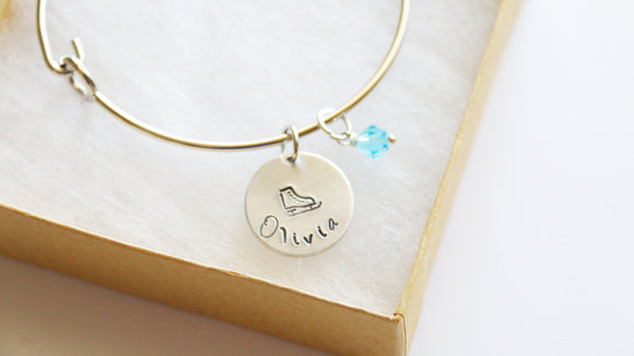 Ice Skate Bangle, Personalized Name and Birthstone