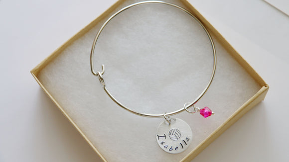 Volleyball Bangle, Personalized Name and Birthstone