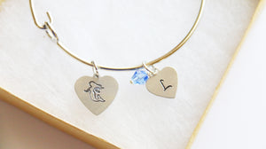 Mermaid Bangle, Personalized Initial and Birthstone