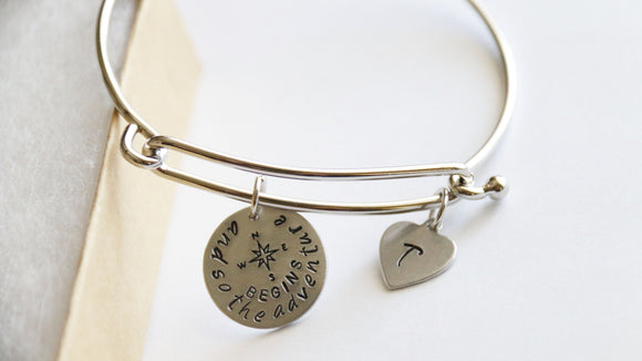 And so the adventure begins Bracelet Bangle, Compass Bangle, Personalized Gift, Travel, No Matter Where Bangle, Distance Friendship, Initial