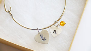 Expecting Mom Bangle, Personalized Initial and Birthstone
