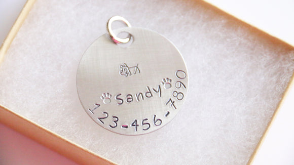 Dog Tag ID, Personalized Name and Phone Number Stick Dog Image