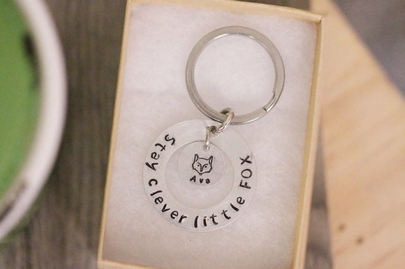 Fox Keychain Personalized Name Stay Clever Little Fox