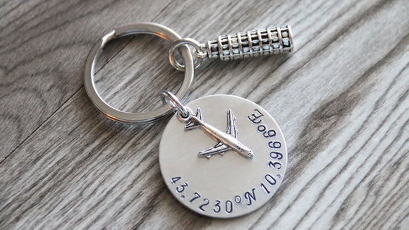 Coordinates Keychain Leaning Tower of Pisa Keychain, Travel Gift, Anniversary Gift, Latitude and Longitude Keychain, Italy Keychain, Wedding