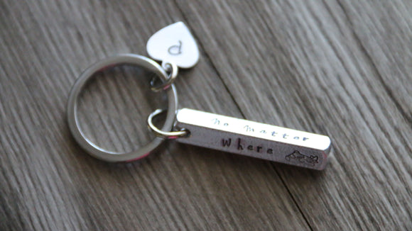 3d Bar Keychain, No Matter Where What When, Personalized Initial, Hand Stamped 4 sides