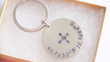 Coordinates Keychains Set, Long Distance Friendship Keychain for Best Friends Gift