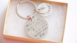 Guardian Angel Keychain, New Driver Gift, Personalized Name