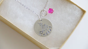 Unicorn Personalized Necklace Silver Tone, Birthstone Color, Birthday Gift