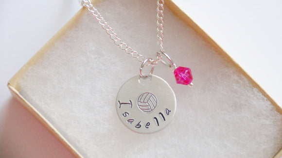 Volleyball Personalized Necklace Name and Birthstone